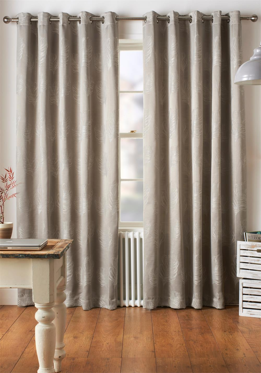 Jeff Banks Diego Fully Lined Eyelet Curtains, Silver