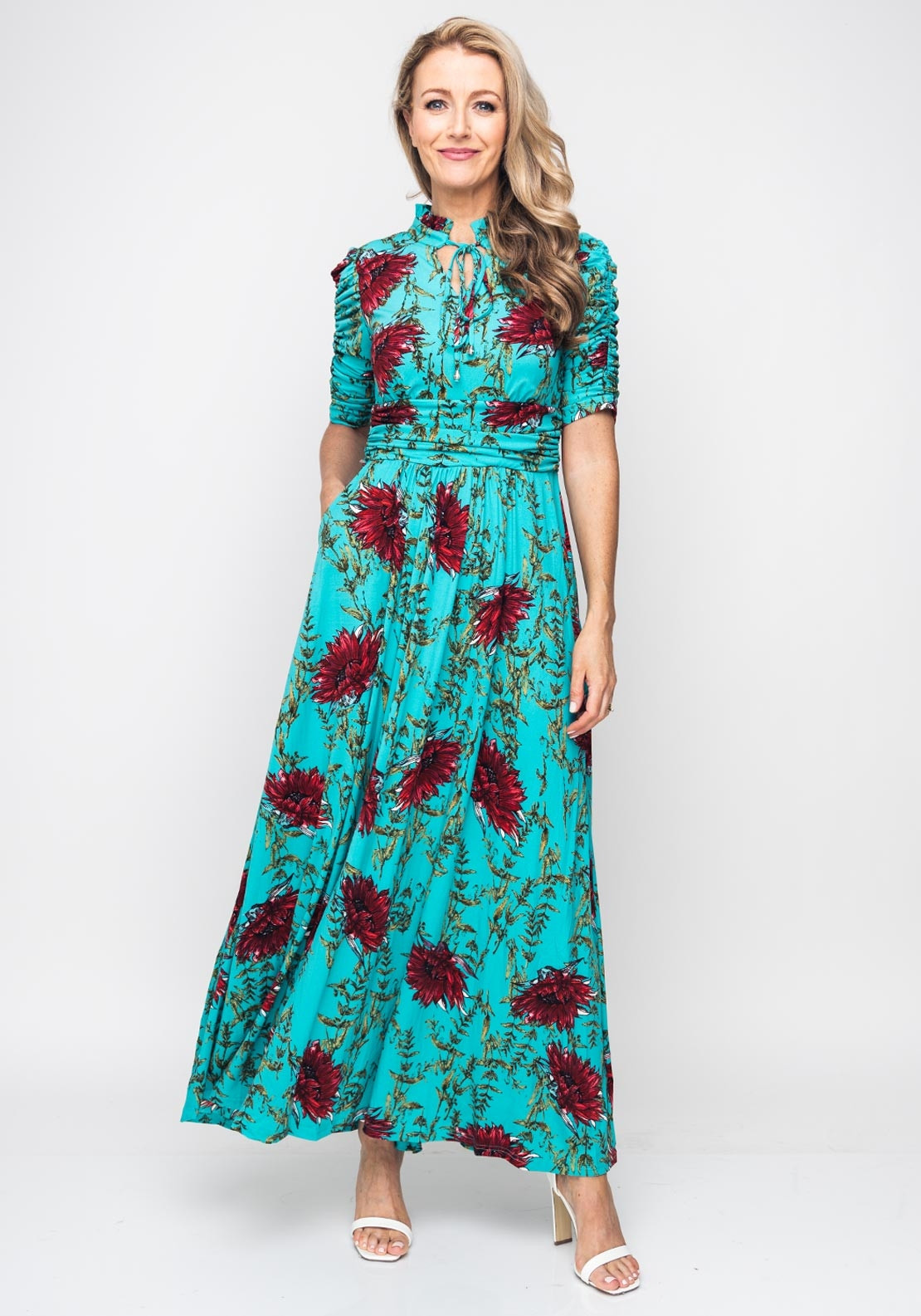 5dbcc4445d Jolie Moi Floral Tie Collar Maxi Dress, Turquoise. Be the first to review  this product