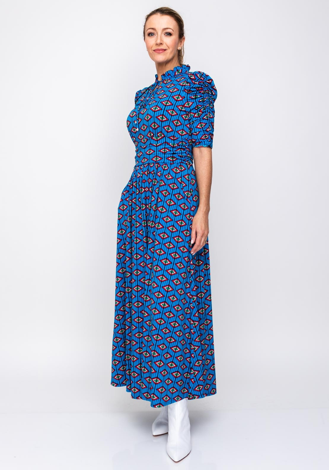 9f6045b042 Jolie Moi Printed Tie Collar Maxi Dress, Blue. Be the first to review this  product