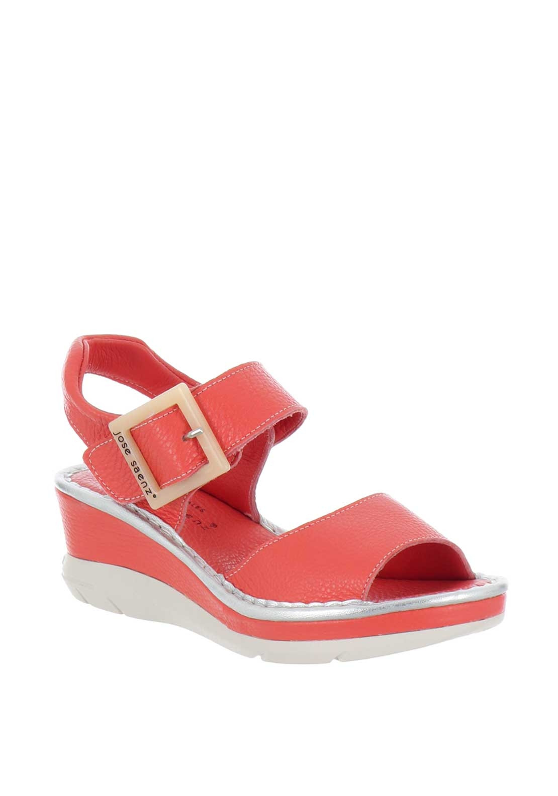 1d187ca08ade Jose Saenz Leather Buckle Wedge Sandals