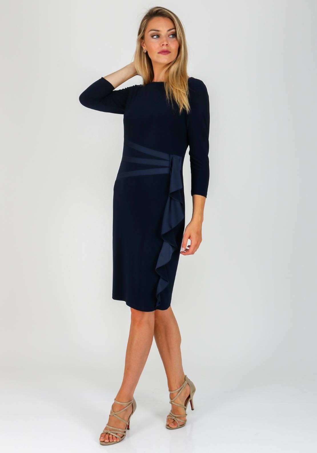 cecd146dc523 Joseph Ribkoff Satin Ruffle Pencil Dress, Navy. Be the first to review this  product