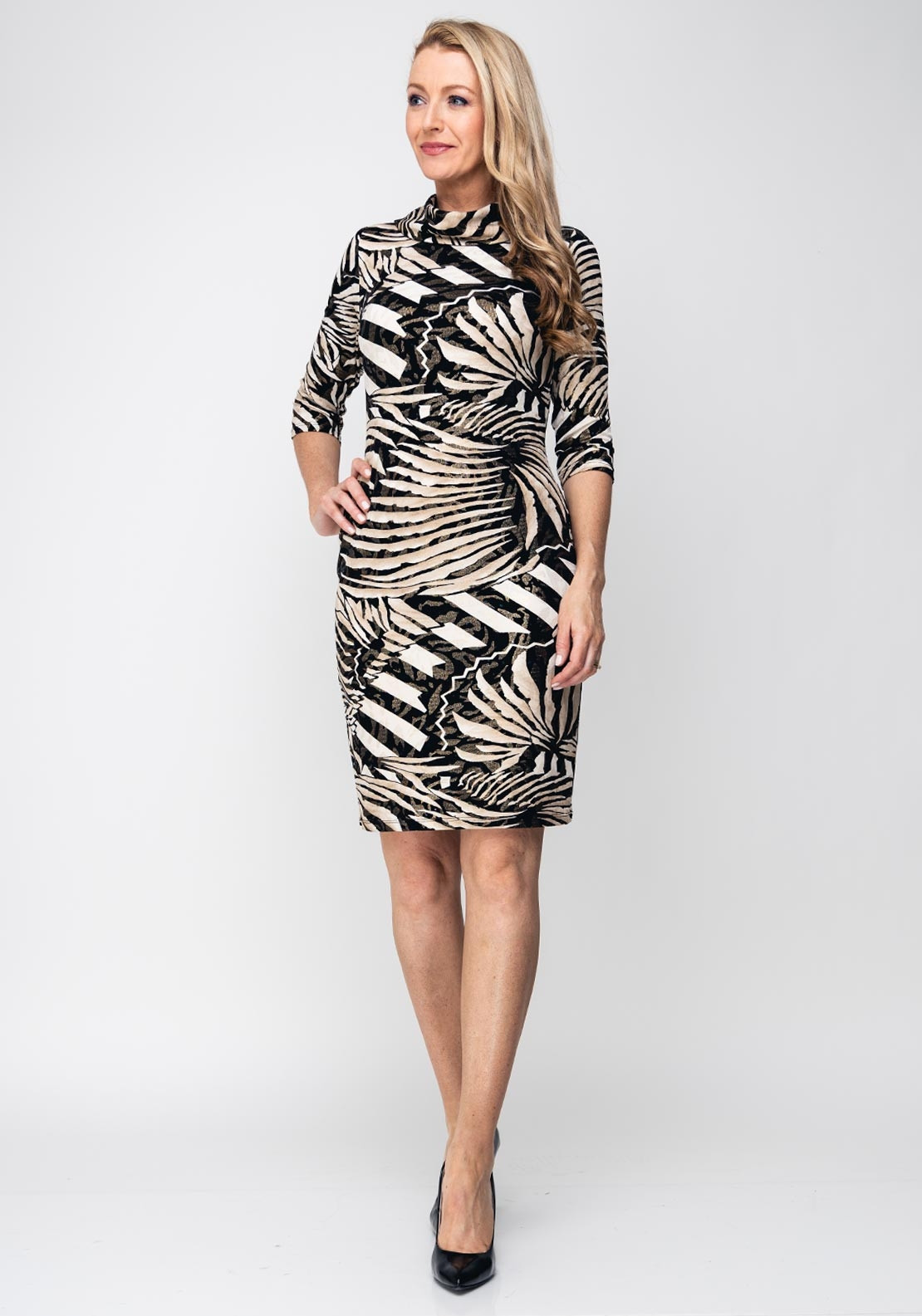 b3be6fb47751 Joseph Ribkoff Cowl Neck Metallic Print Dress, Gold. Be the first to review  this product