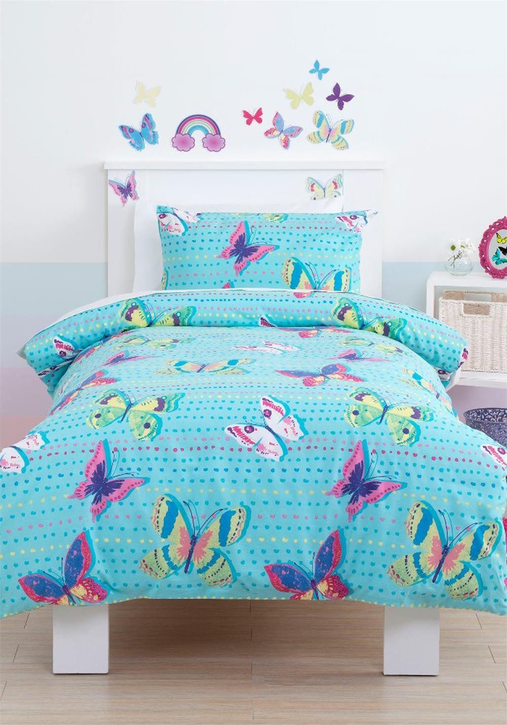 Just Kidding Rainbow Butterfly Duvet Cover Set, Bubble Gum Blue