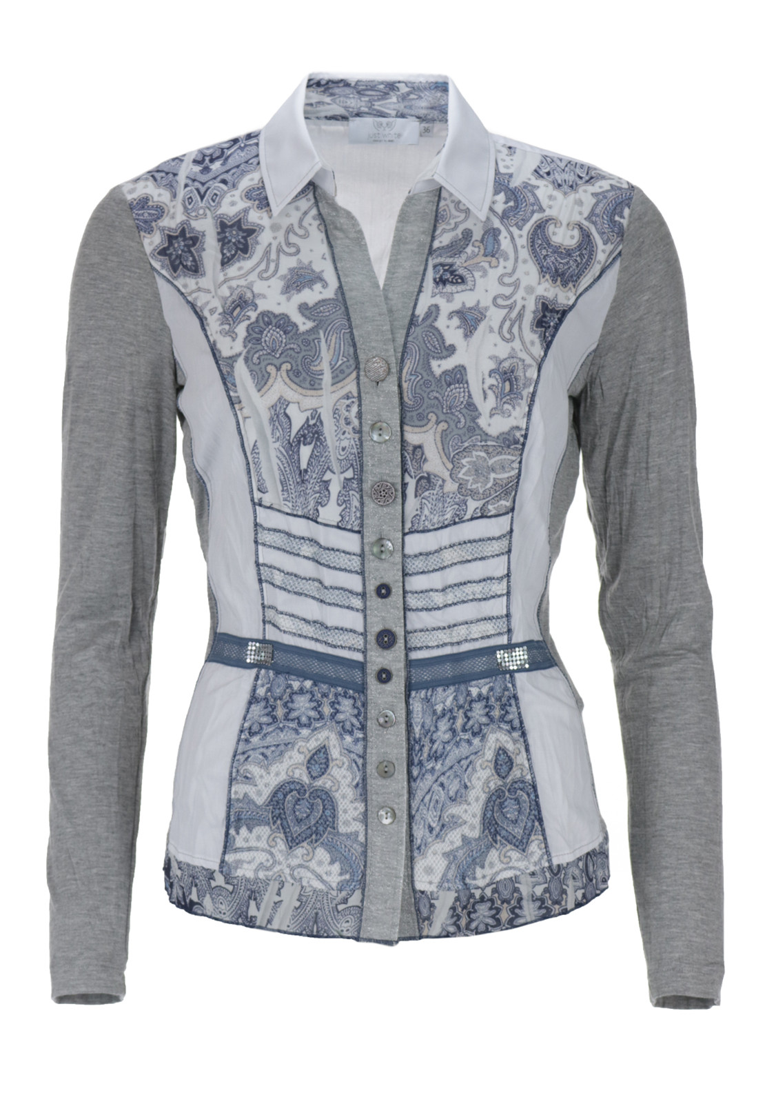 Just White Paisley Print Crushed Long Sleeve Blouse, Grey Multi