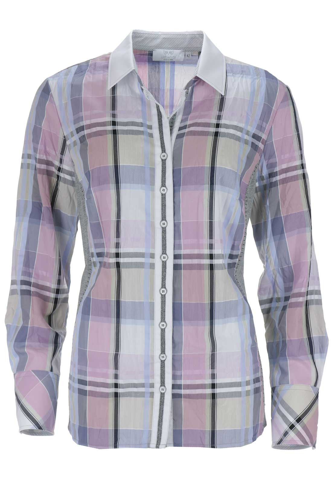 Just White Checked Blouse, Pink Multi