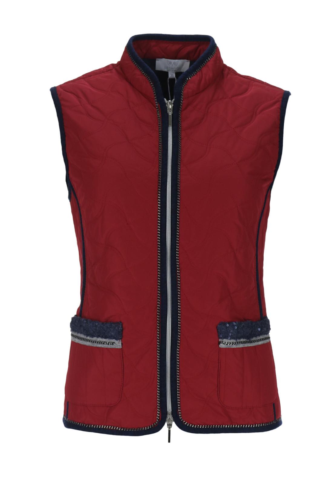Just White Quilted Gilet, Red