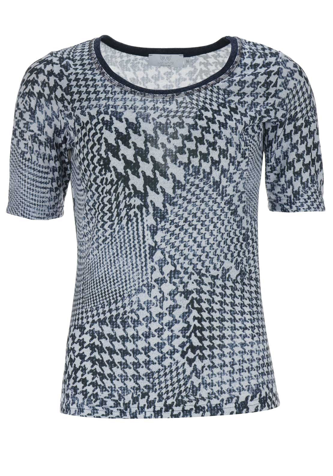 Just White Houndstooth Print Top, Navy