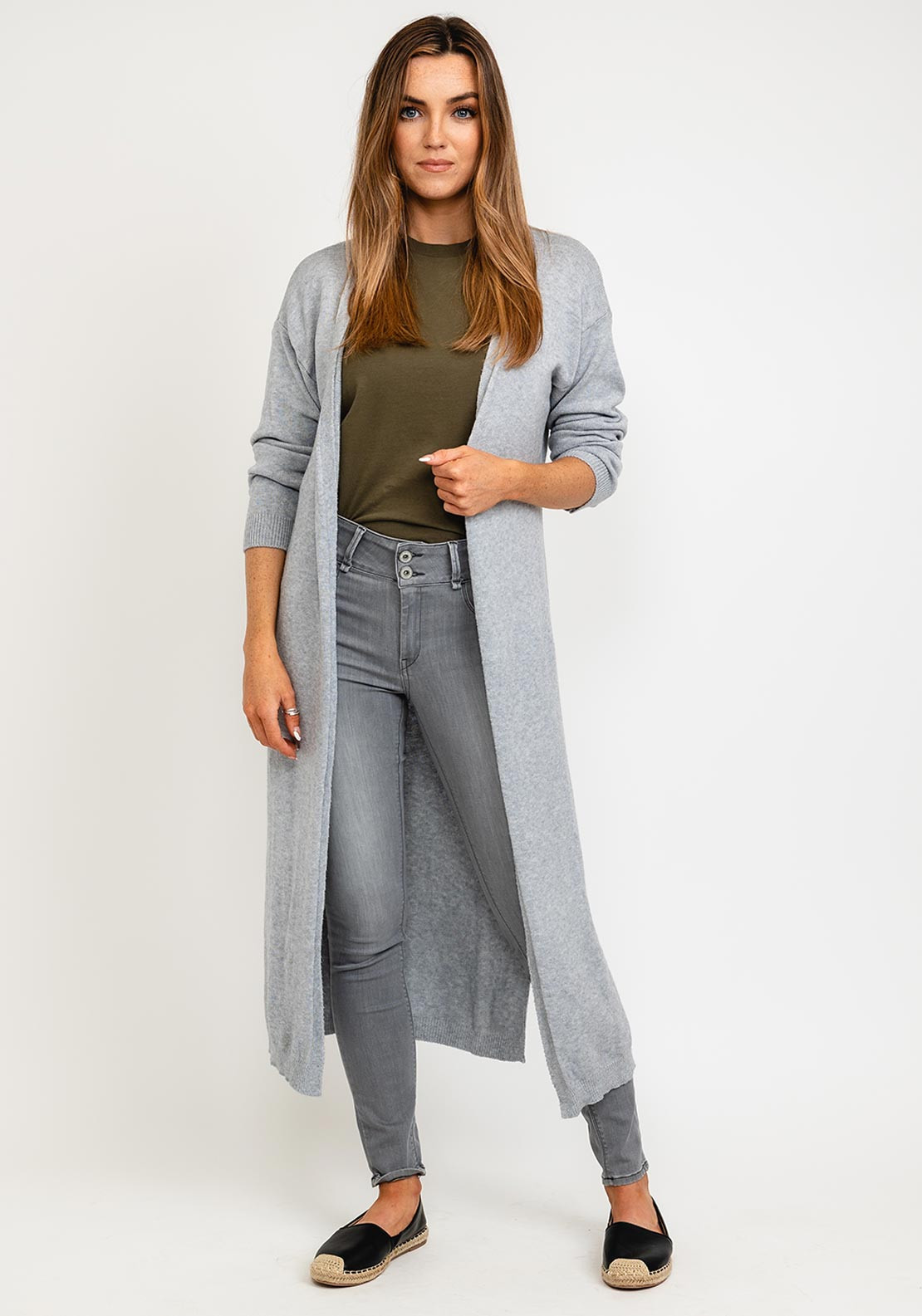 Kate & Pippa Monza Long Line Open One Size Cardigan, Grey
