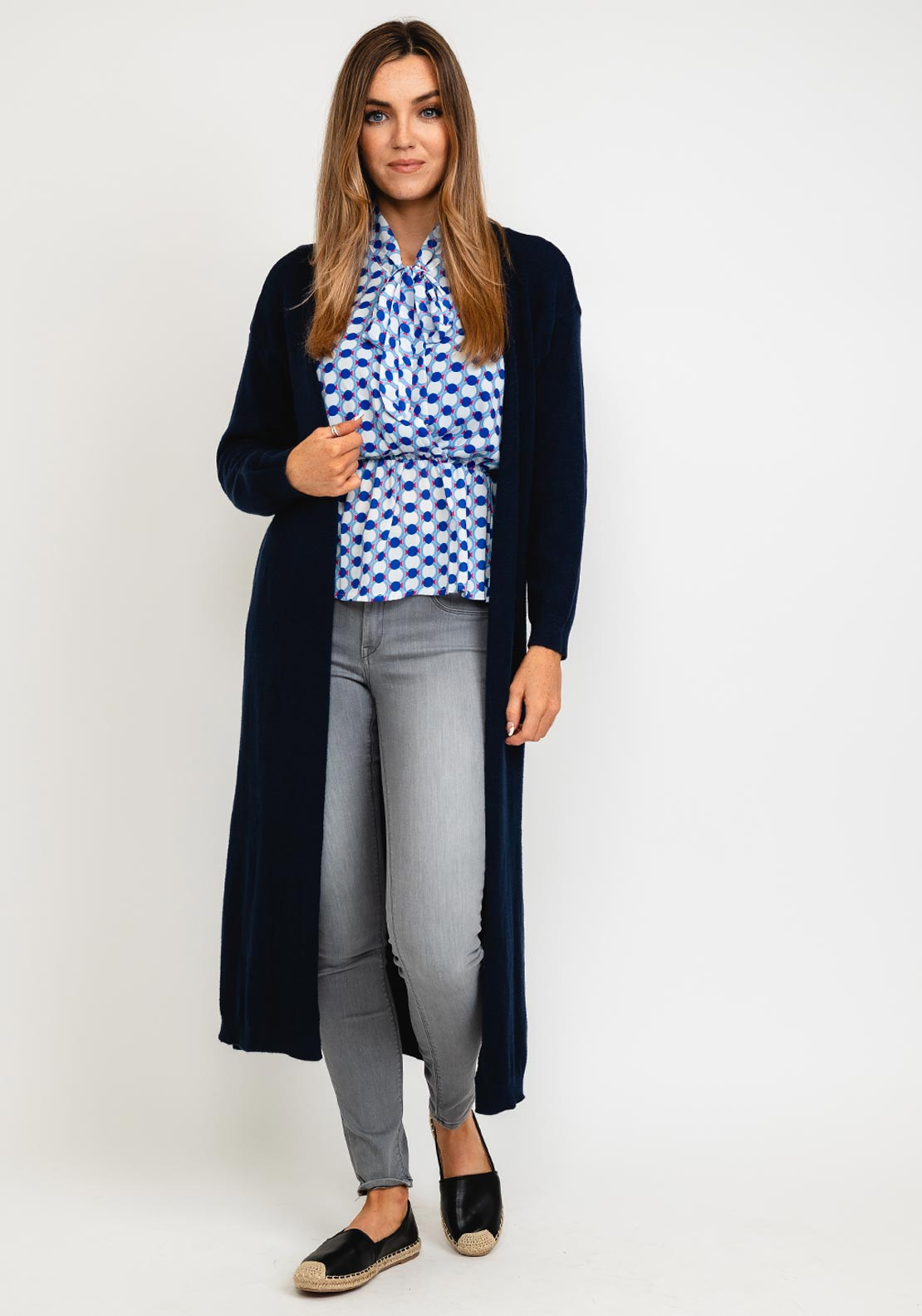 Kate & Pippa Monza Long Line Open One Size Cardigan, Navy