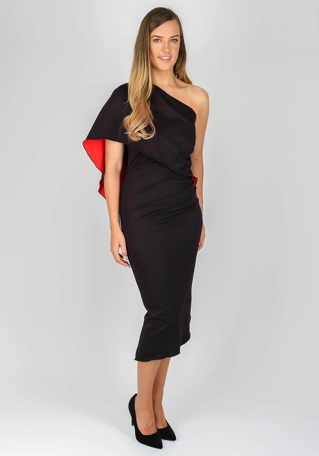 c6eb69f6cf22 Kevan Jon Charlotte One Shoulder Cape Dress
