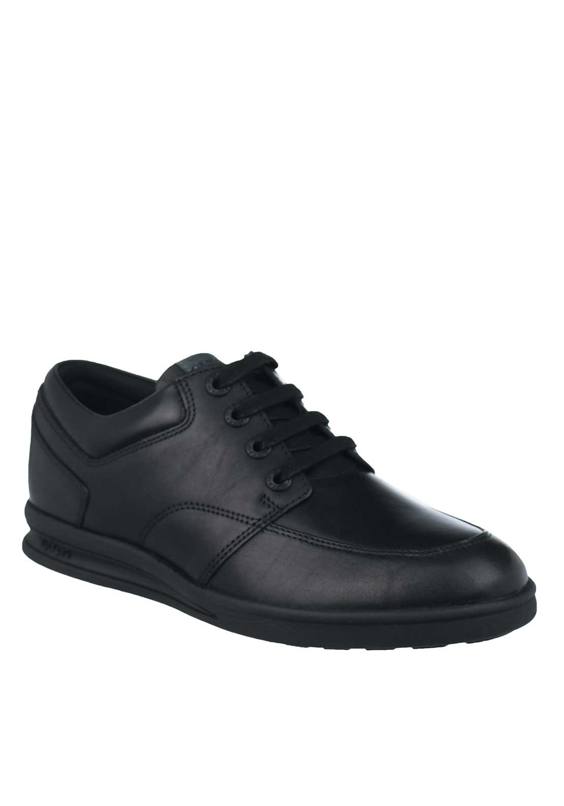 Kickers Boys Leather Lace School Shoes, Black