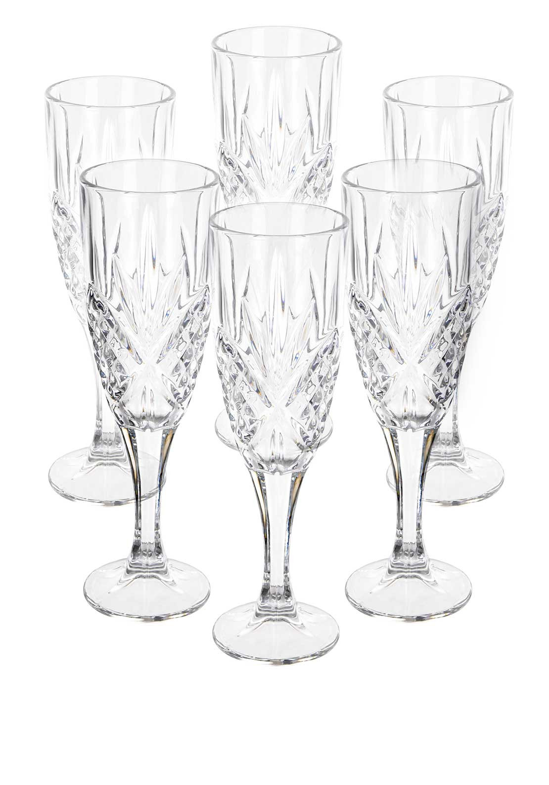 Killarney Crystal Ireland Trinity Champagne Flute Glasses, Set of 6
