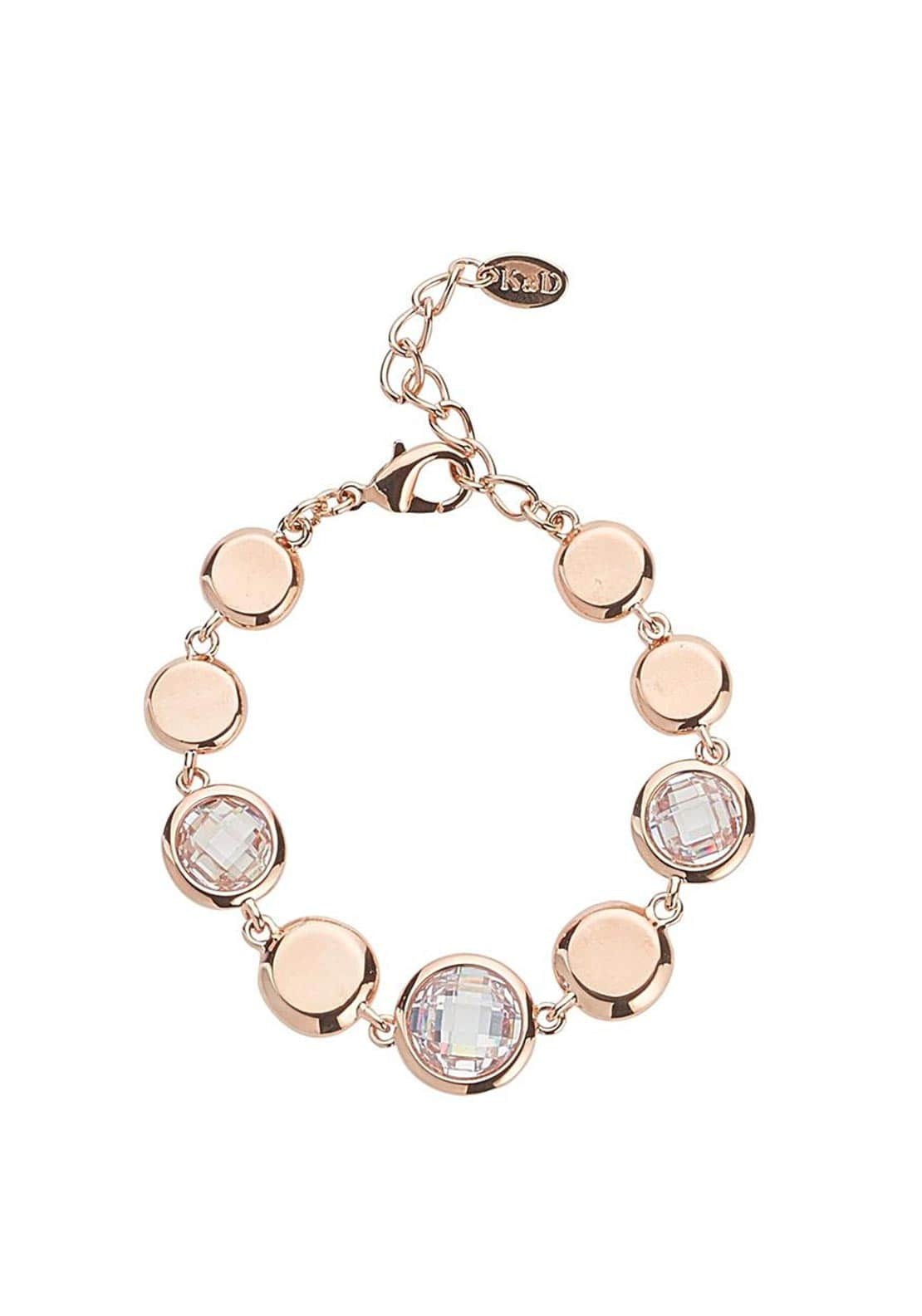 Knight & Day Abigail Disc & Crystal Disc Chain Bracelet, Rose Gold