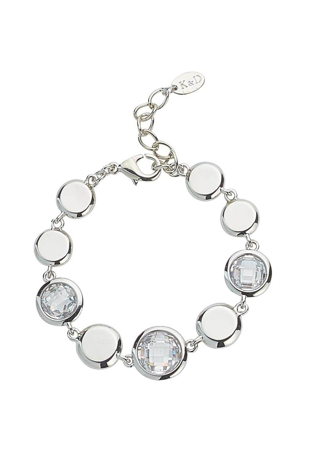 Knight & Day Abigail Disc & Crystal Disc Chain Bracelet, Silver