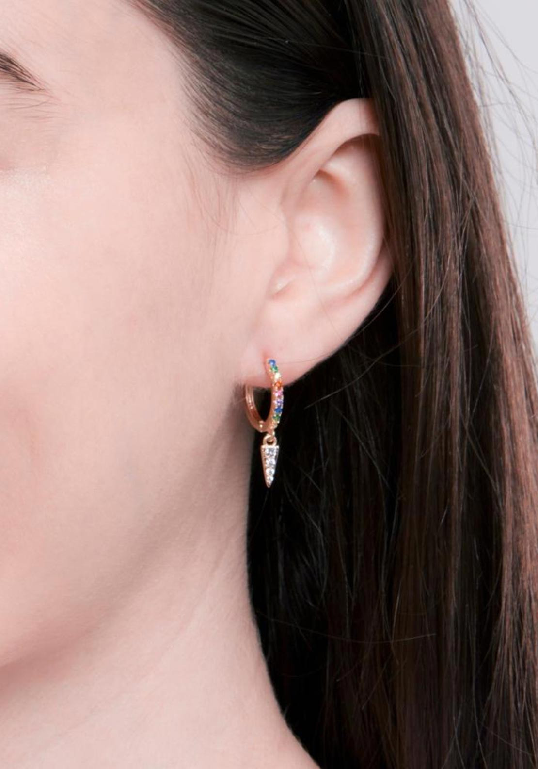 Knight & Day Aria Coloured Crystal Encrusted Hoop & Clear CZ Drop, Gold
