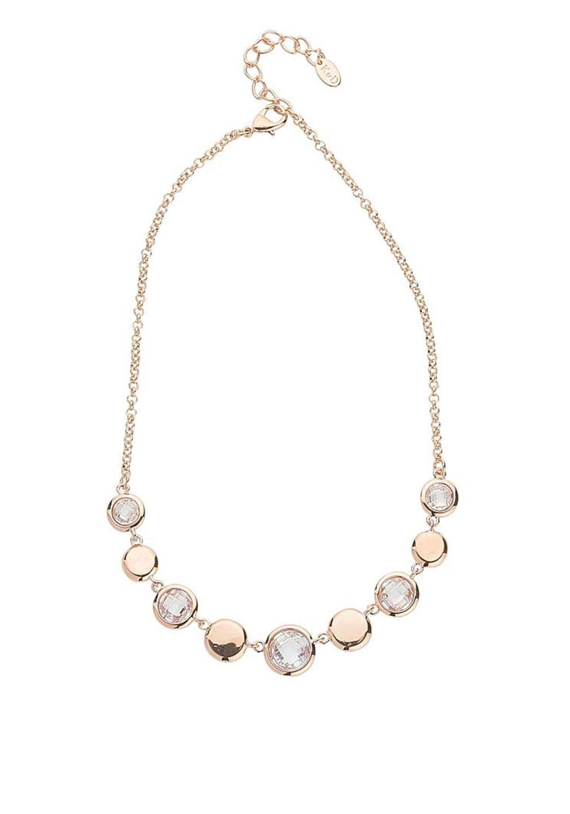Knight & Day Abigail Crystal Disc Chain Necklace, Rose Gold