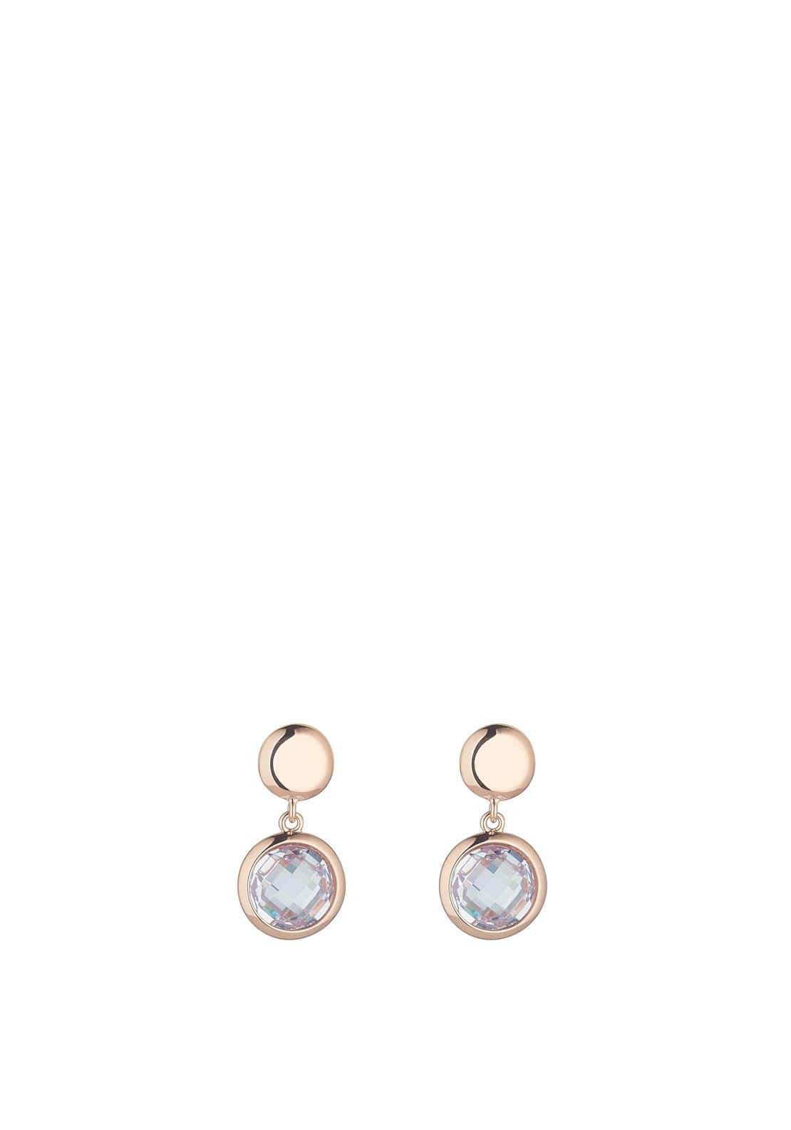 Knight & Day Abigail Disc & Crystal Disc Earring, Rose Gold