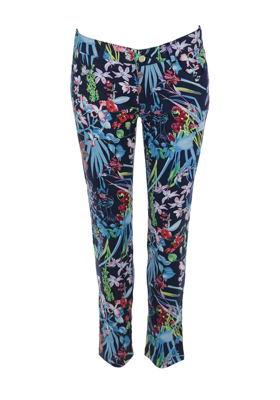 Boutique Oriental Flowers Slim Leg Trousers, Navy