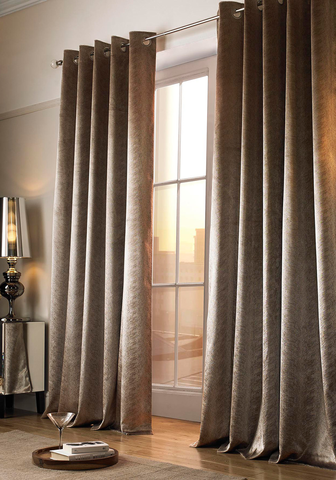 Kylie Minogue at Home Adelphi Velvet Curtains, Caramel