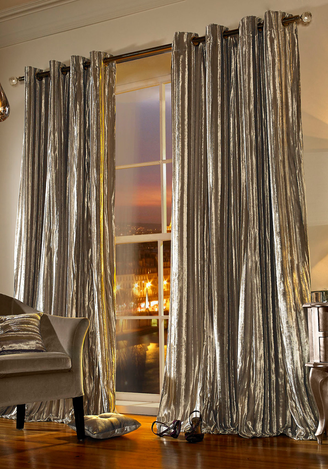 Kylie Minogue at Home Iliana Velvet Curtains, Praline