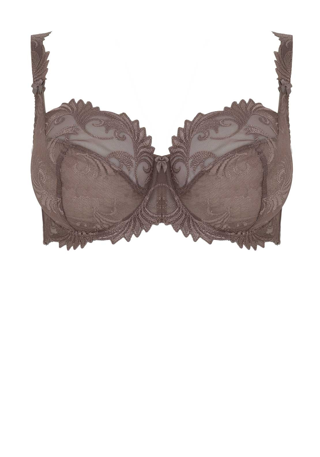 Empreinte Thalia Embroidered Lace Underwired Bra, Velvet Taupe