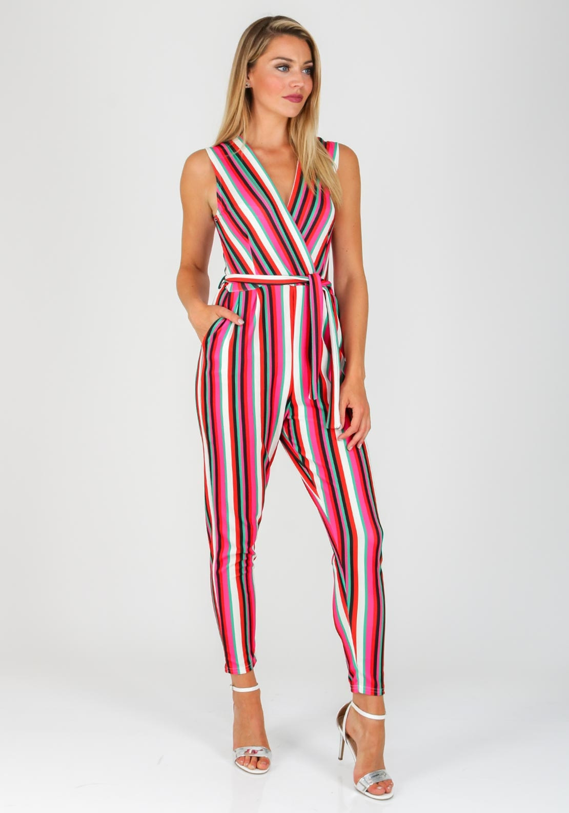 9a9d2d7b2545 Boutique Striped Slim Leg Jumpsuit, Pink | McElhinneys