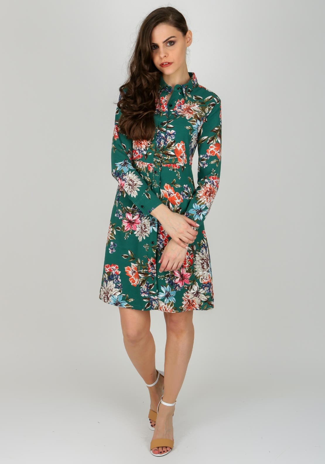c7fa3f5c26 Boutique Floral Print Aline Shirt Dress
