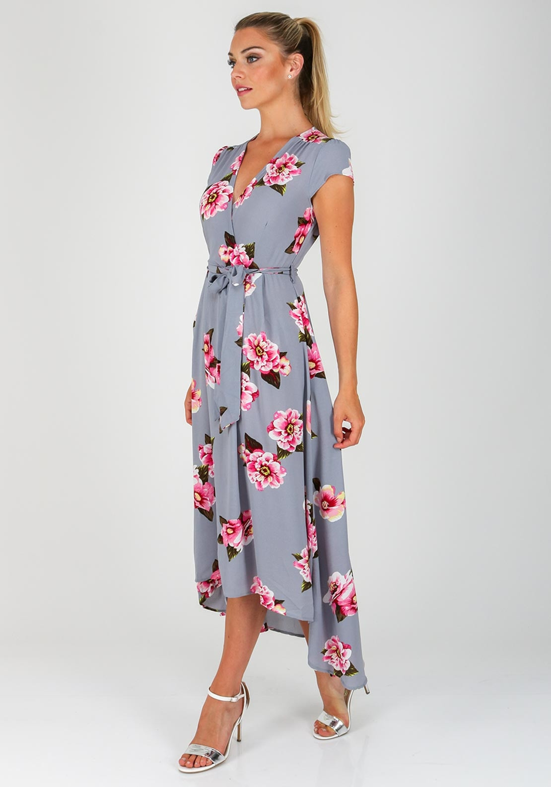 f253e4eae1e4 AX Paris Floral Dipped Hem Maxi Dress, Grey. Be the first to review this  product