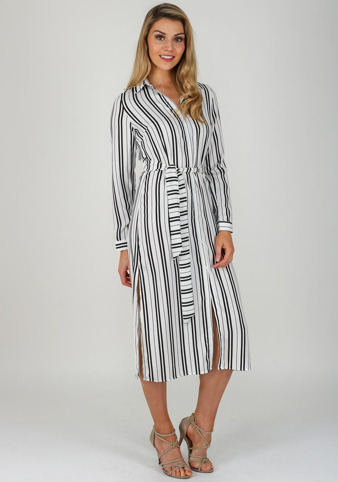 d0bfa8861a Boutique Striped Ankle Length Shirt Dress