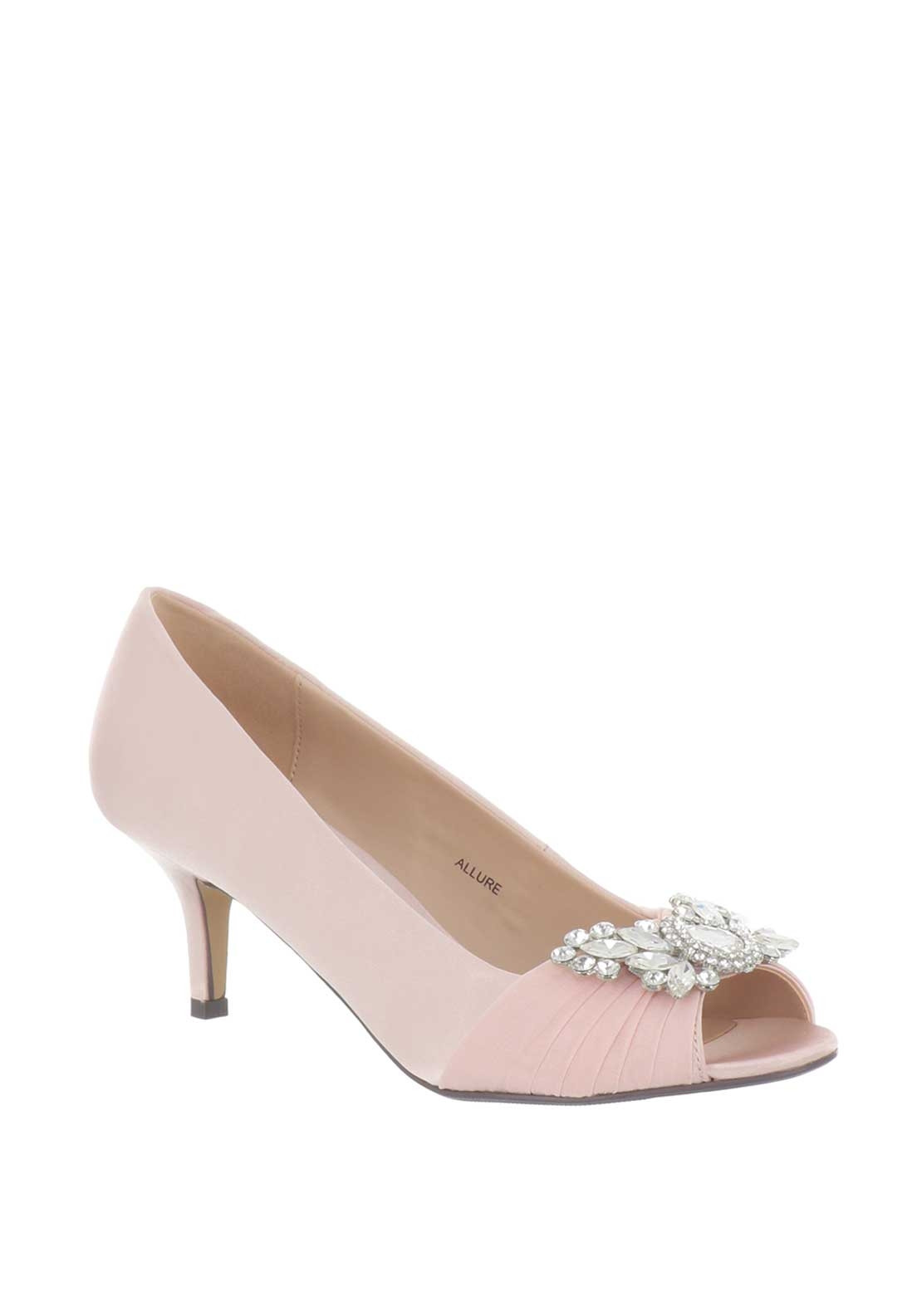 22517782822 Lunar Allure Diamante Peep Toe Heeled Shoes, Pink