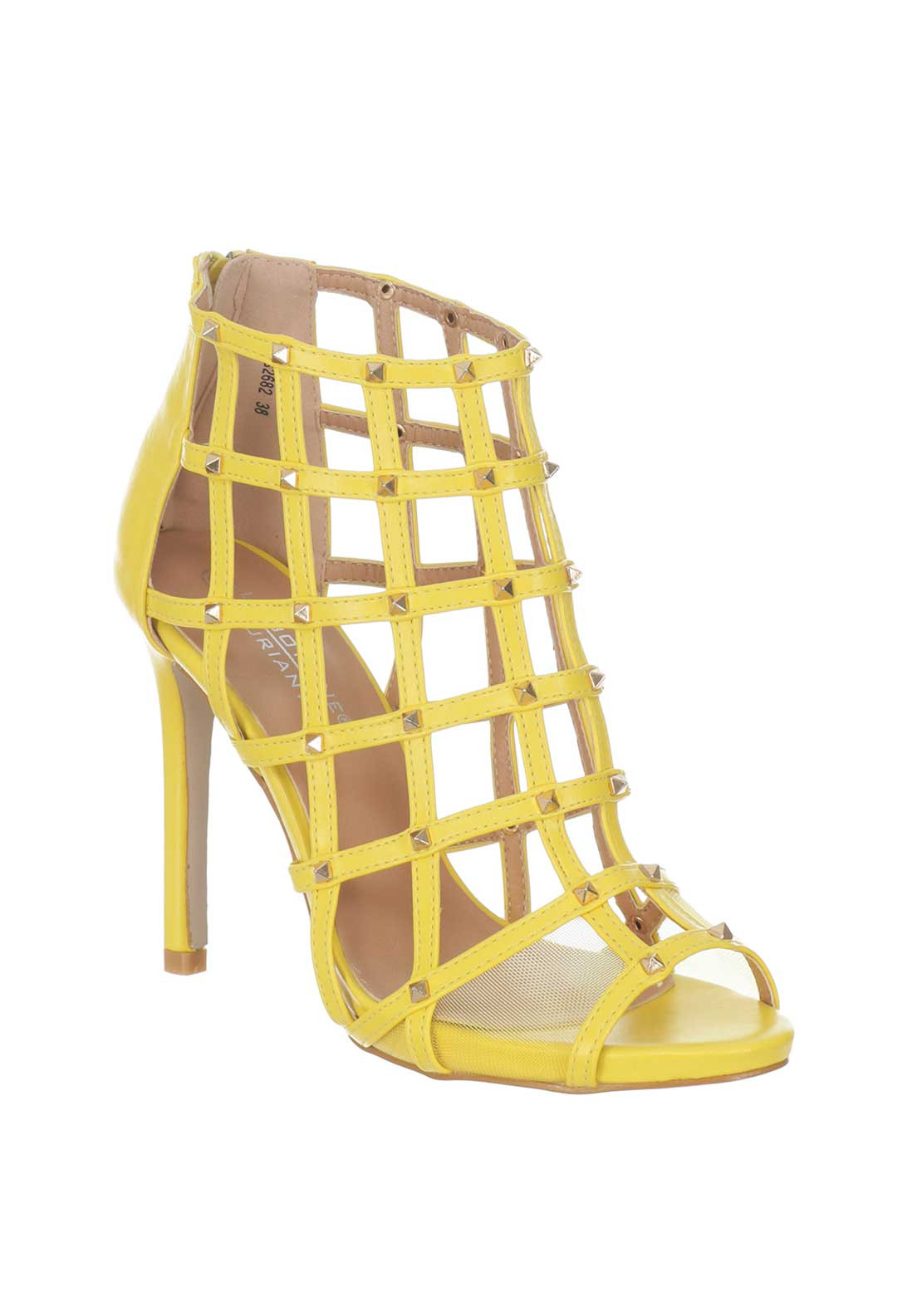 fb0f2e52ce9 Boutique Studded Caged Heeled Sandals