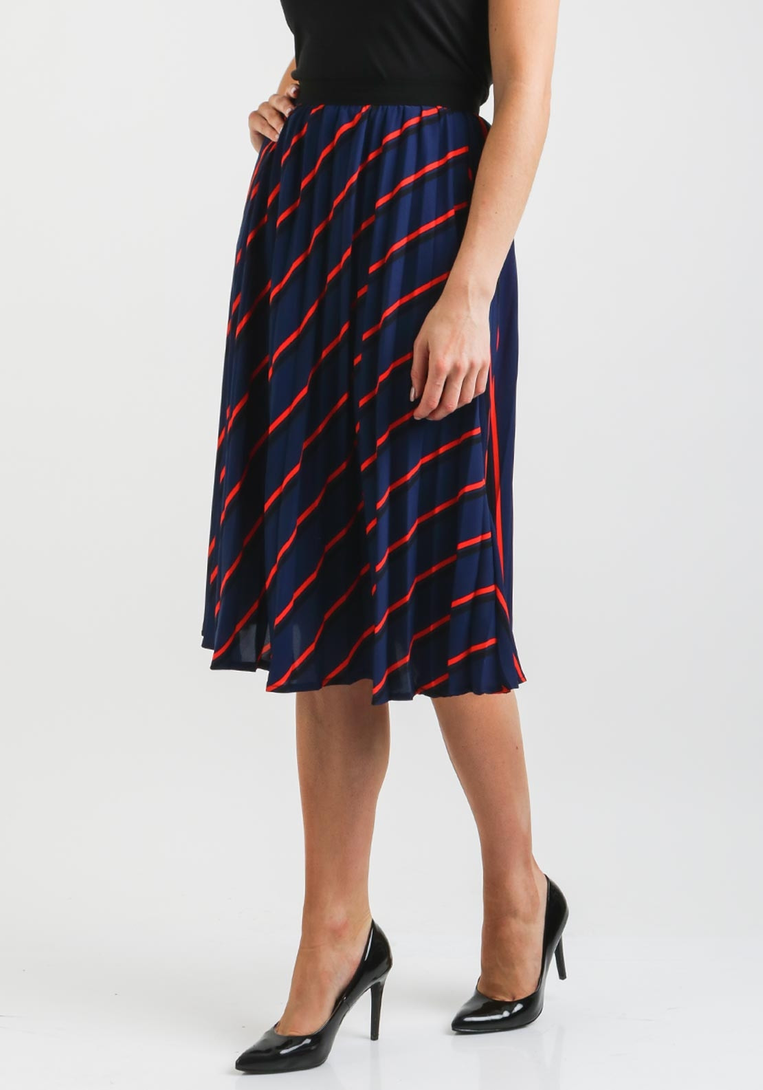 Boutique Striped Pleated Midi Skirt, Navy