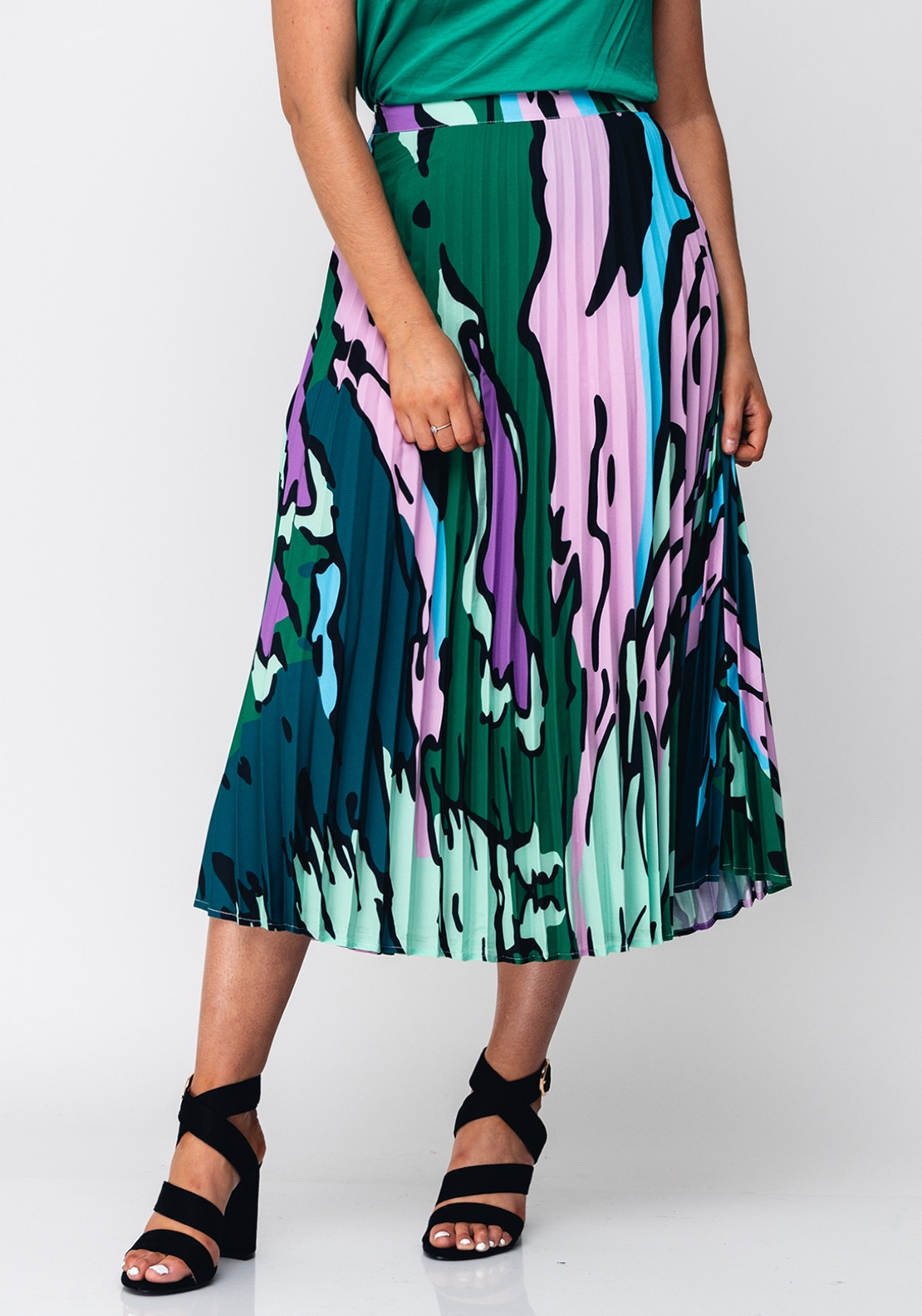 6a9b14a52888 Seventy1 Abstract Print Pleated Skirt, Green. Be the first to review this  product