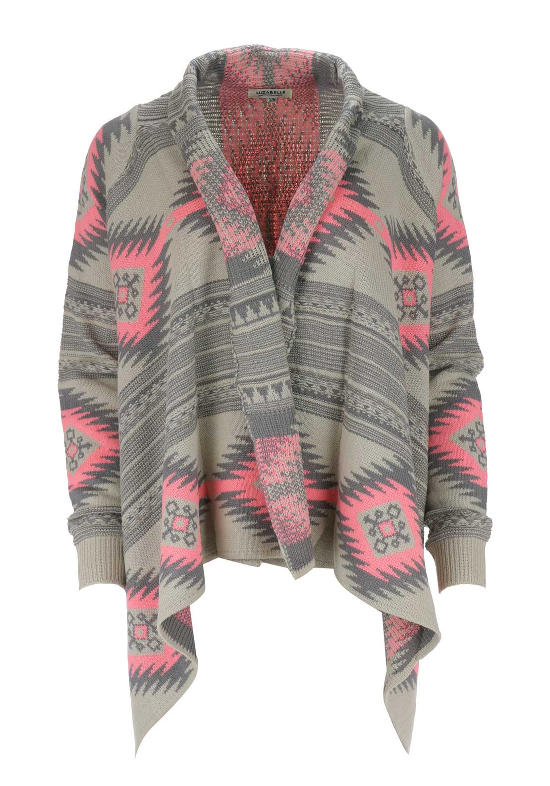 Boutique Aztec Waterfall Cardigan, Pink