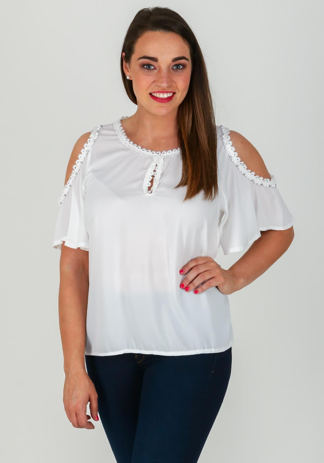 6294a11d51c2e0 Boutique Lace Trim Cold Shoulder Top, White. Be the first to review this  product