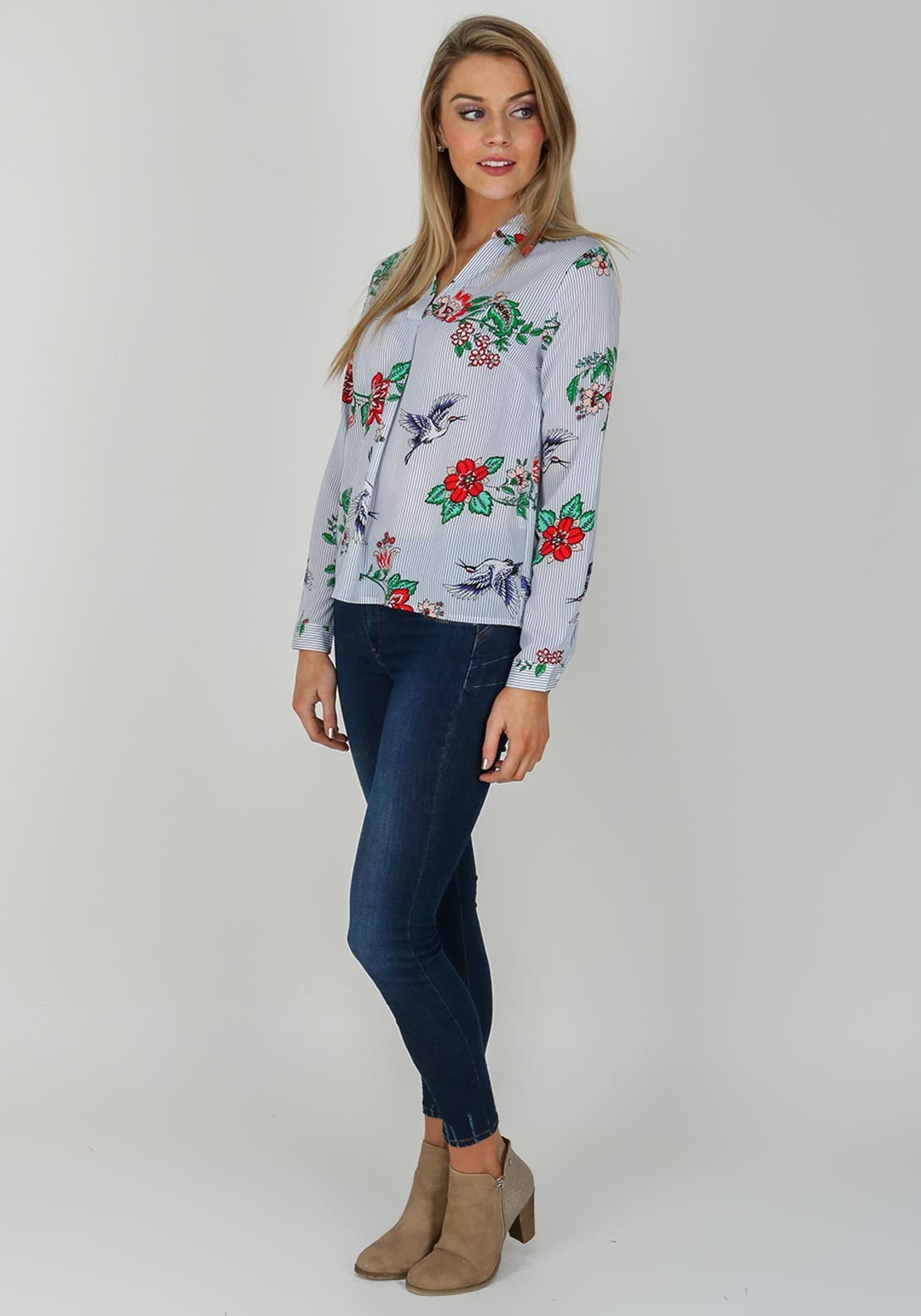 37439452 Blue Striped Blouse With Flowers « Alzheimer's Network of Oregon