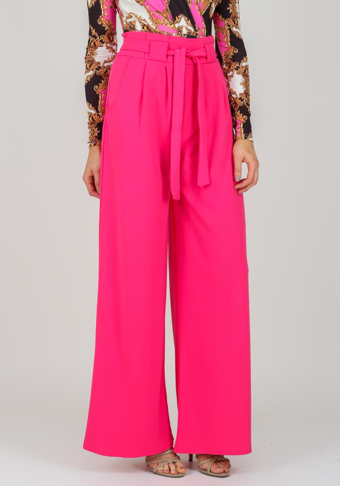 Boutique High Waist Wide Leg Trousers, Pink