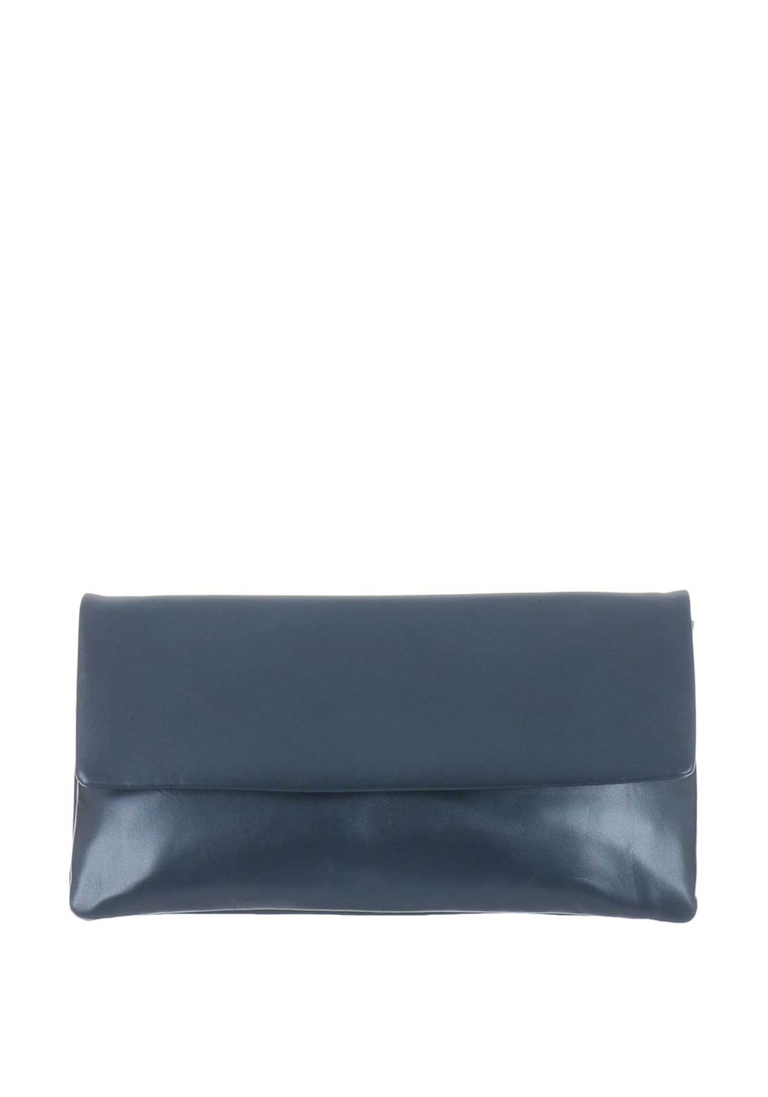 Le Babe Leather Clutch Bag, Navy