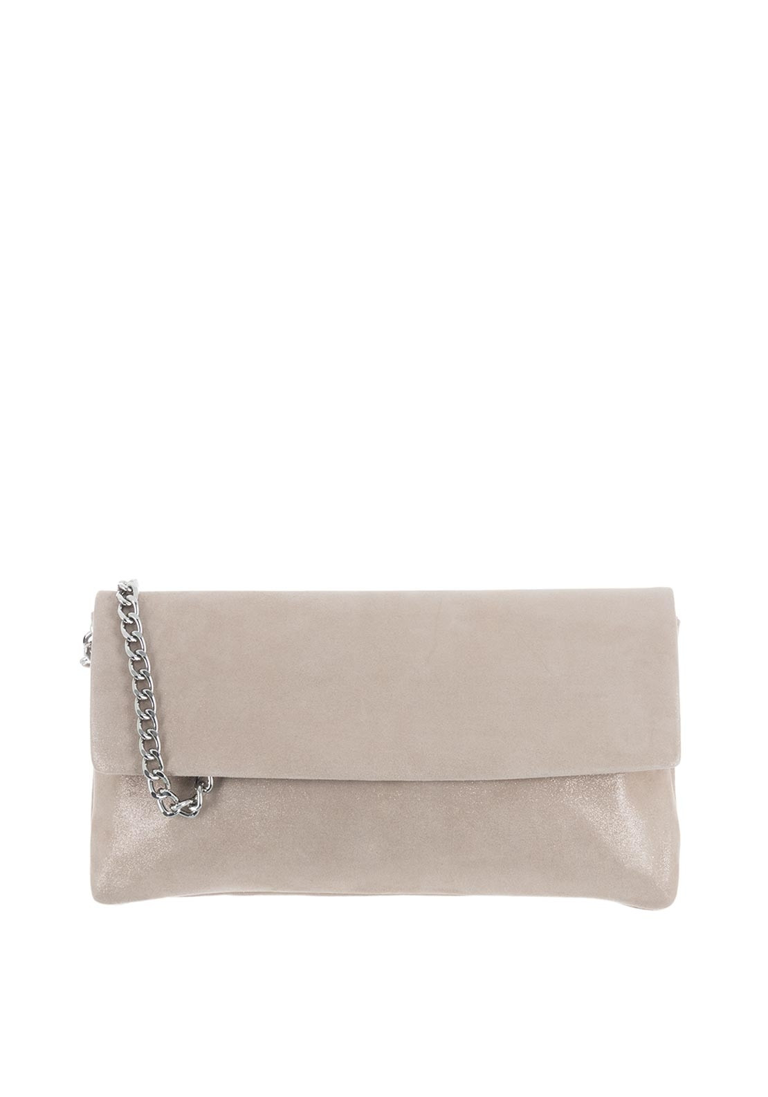 Le Babe Suede Shimmer Clutch Bag, Champagne