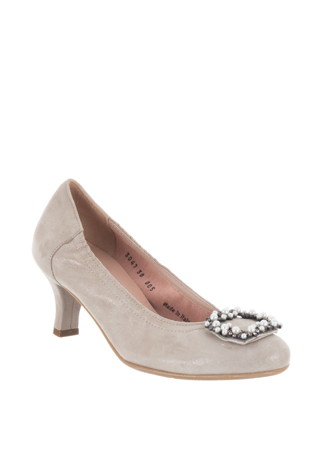 Le Babe Suede Shimmer Brooch Mid Heel Shoes, Champagne