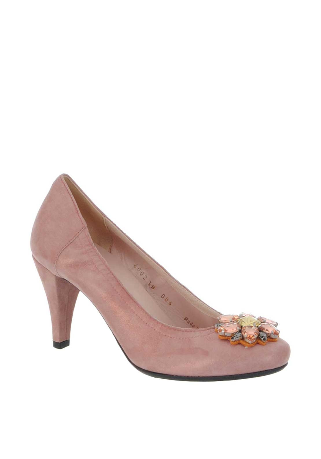 Le Babe Suede Diamante Brooch Court Shoes, Pink