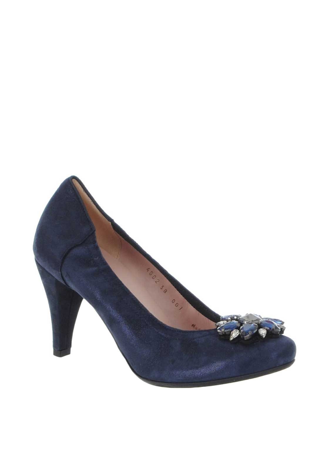 Le Babe Suede Diamante Brooch Court Shoes, Navy