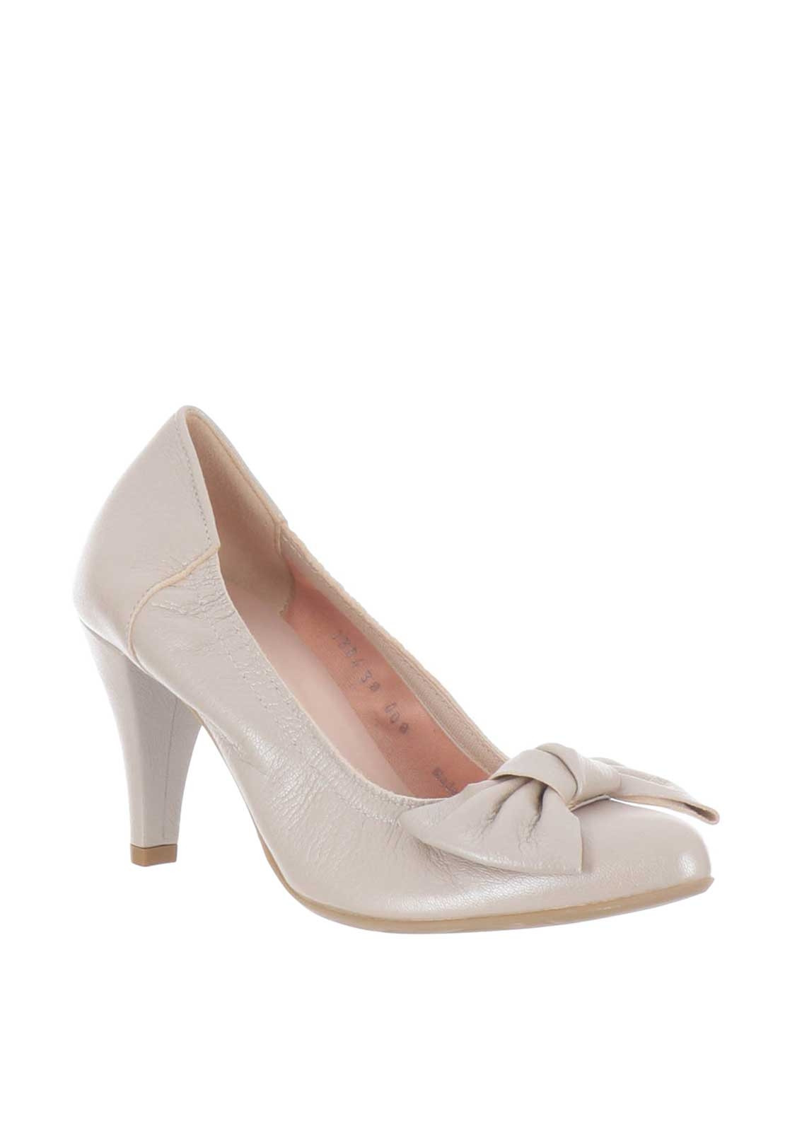 Le Babe Leather Bow Court Shoes, Pink