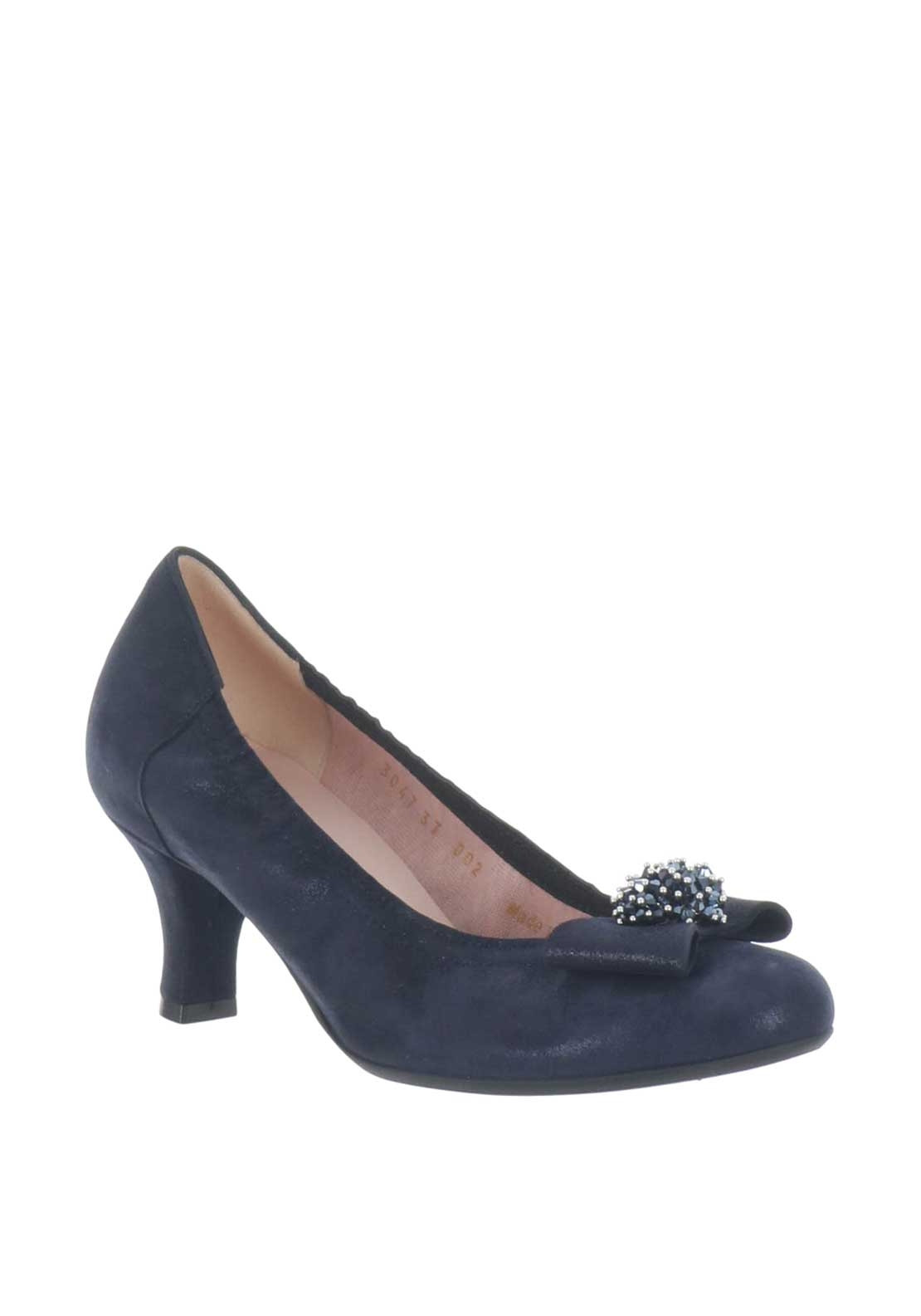 Le Babe Suede Shimmer Mid Heel Shoes, Navy
