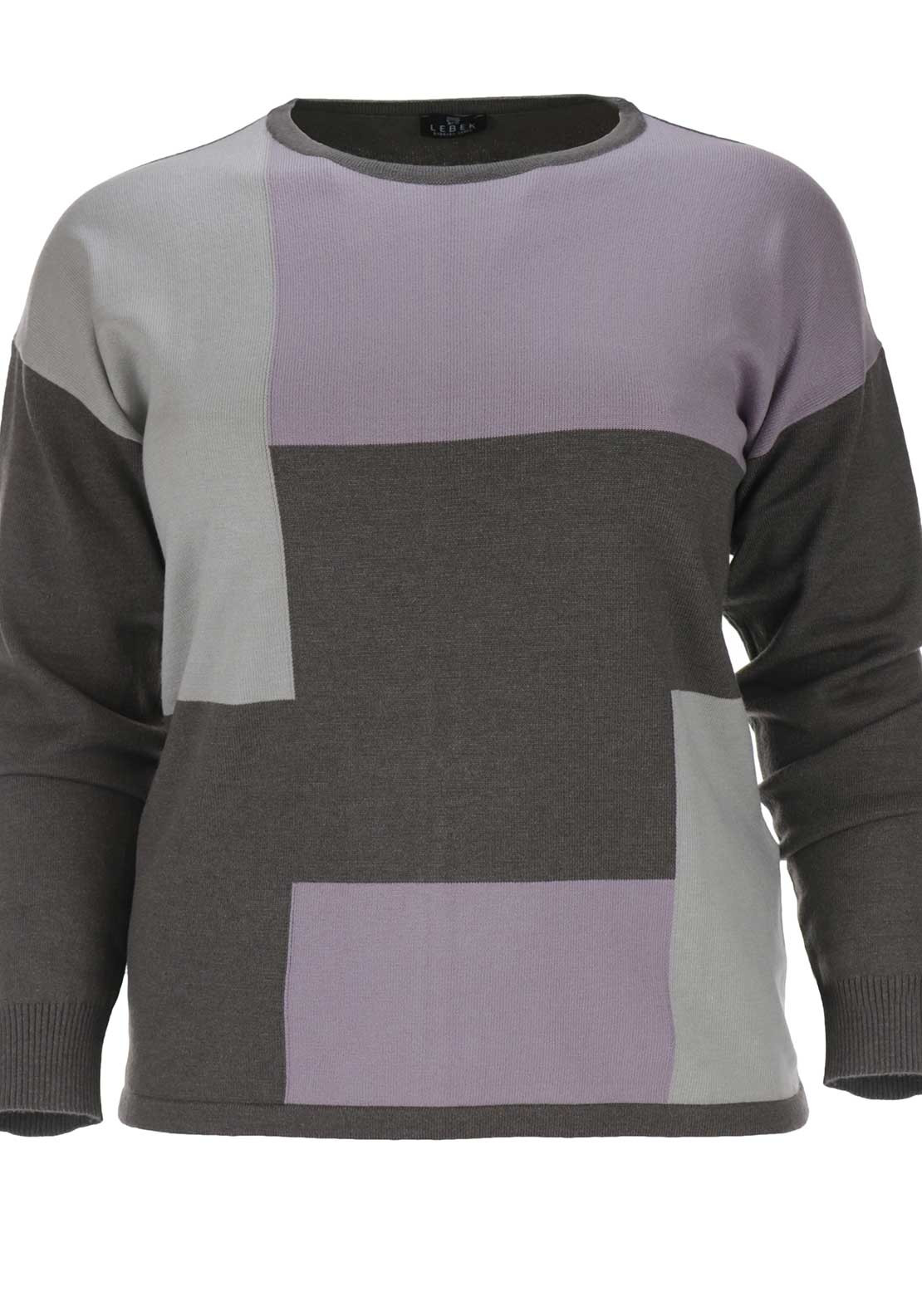 Lebek Geometric Print Sweater Jumper, Purple and Grey
