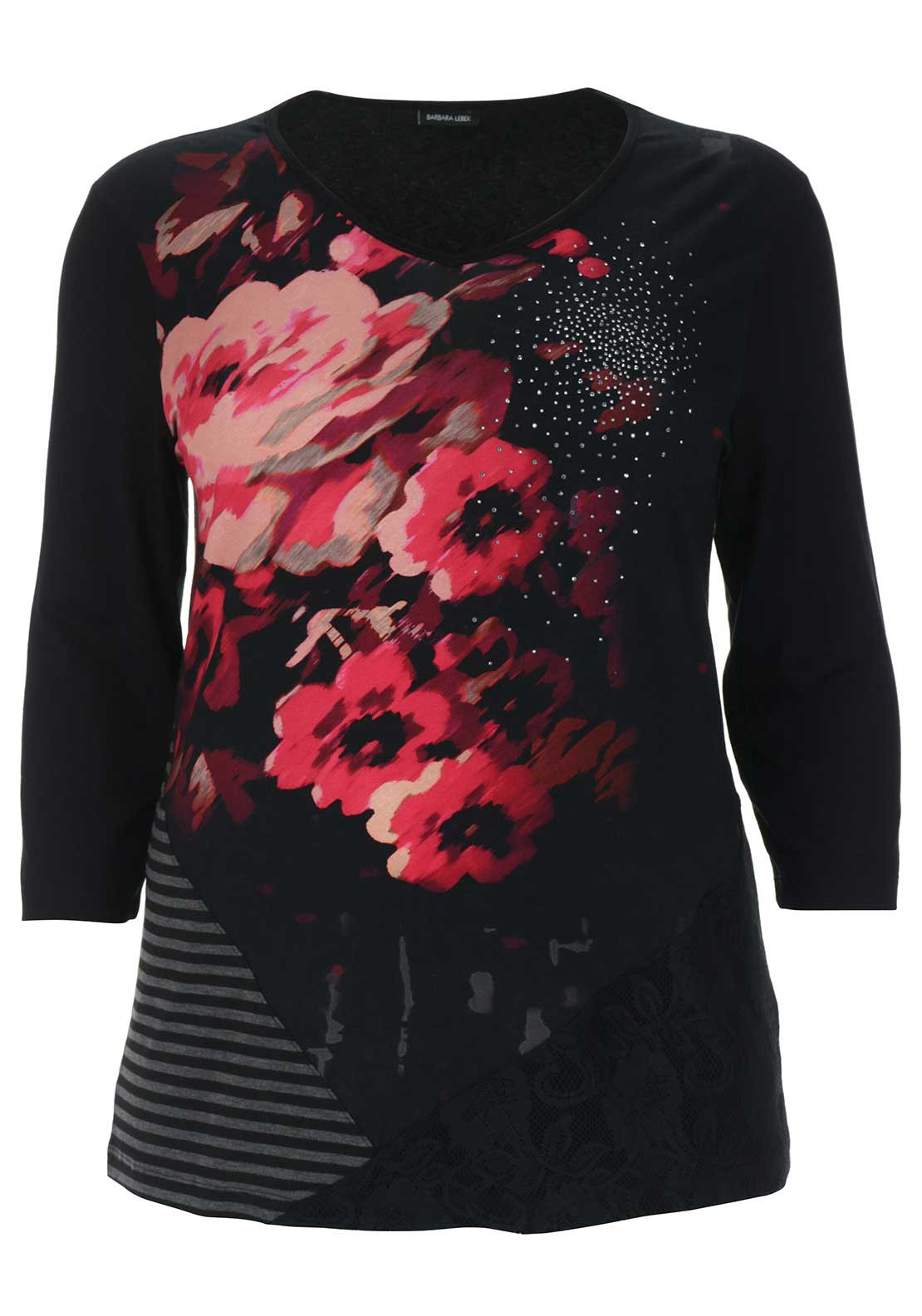 Barbara Lebek Floral Print Top, Black Multi