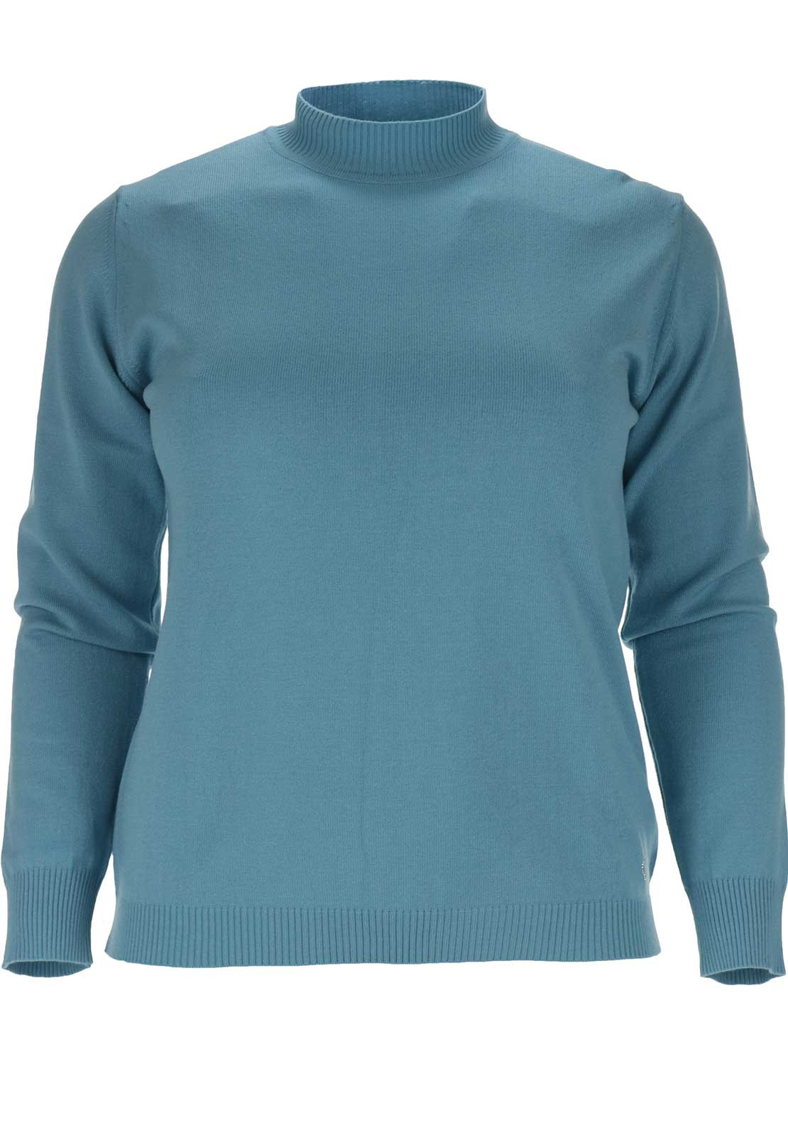 Lebek Fine Knit Long Sleeve Jumper, Aqua Blue