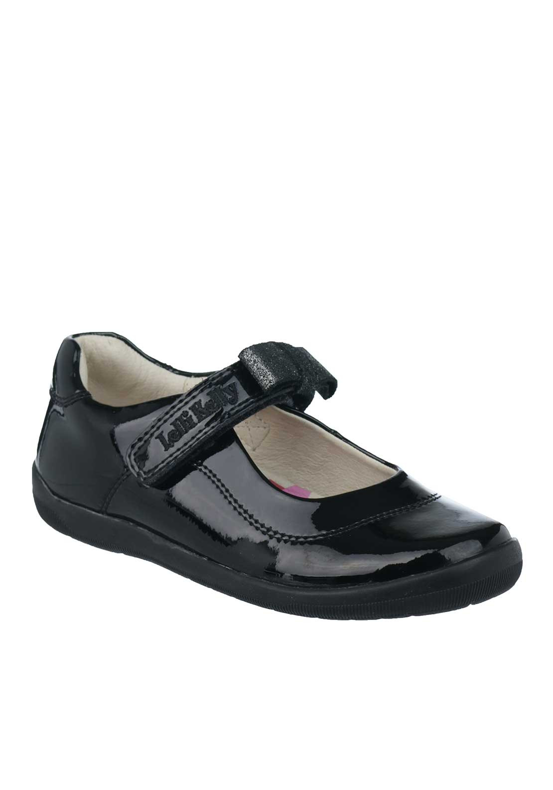 Lelli Kelly Girls Patent Leather Bow Mary Jane School Shoes, Black