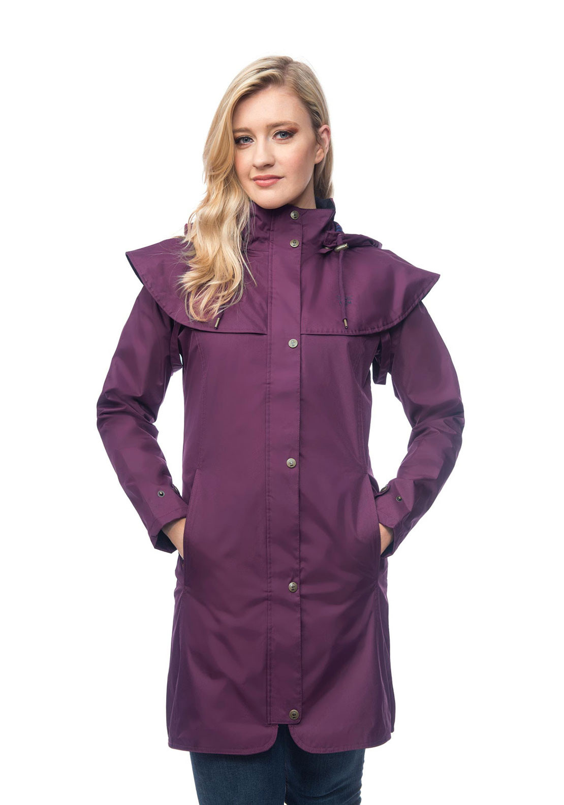Lighthouse Outrider Hooded Raincoat, Plum
