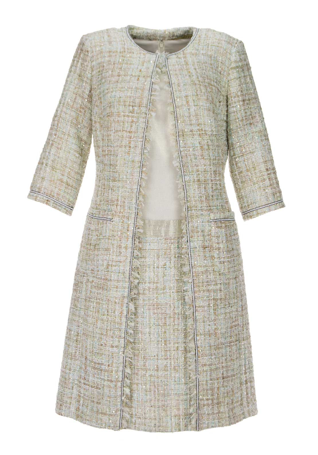 Linea Raffaelli Metallic Sheen Dress & Boucle Coat, Cream Multi